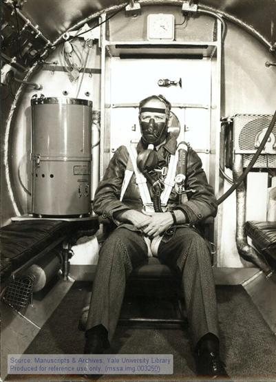 Charles A. Lindbergh in an altitude chamber prior to testing at the Mayo Medical Center in Rochester, MN September 1942.
