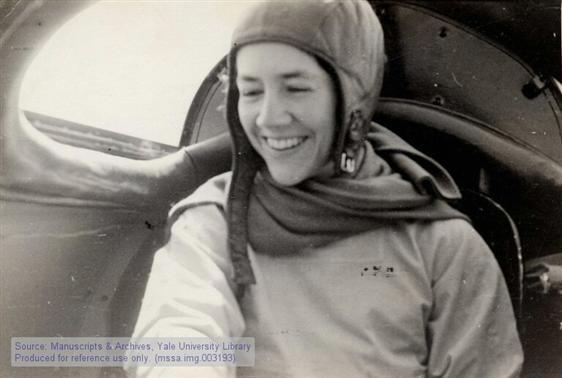 "Anne Morrow Lindbergh in the Lockheed ""Sirius"" during the Atlantic Survey Flight."