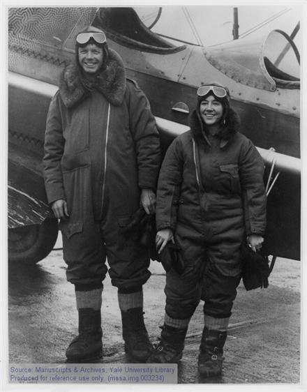Charles A. Lindbergh and Anne Morrow Lindbergh in flight gear, 1931.