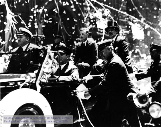 Charles A. Lindbergh and Grover Whalen, New York City tinker tape parade, June 13, 1927.
