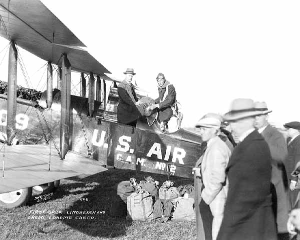 First US Air Mail service from St. Louis to Chicago, Charles Lindbergh Jr. one of the pilots