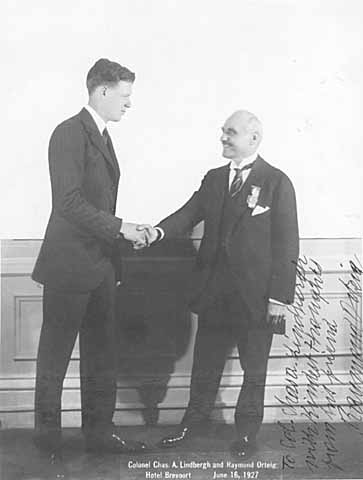 Charles A. Lindbergh with Raymond Orteig