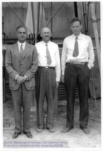 Harry Guggenheim, Robert Goddard, and Charles A. Lindbergh (l. to r.), Roswell, NM, 1935