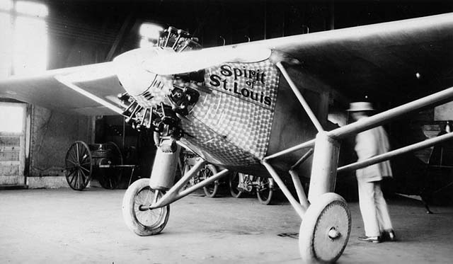 The Spirit of St. Louis in hanger