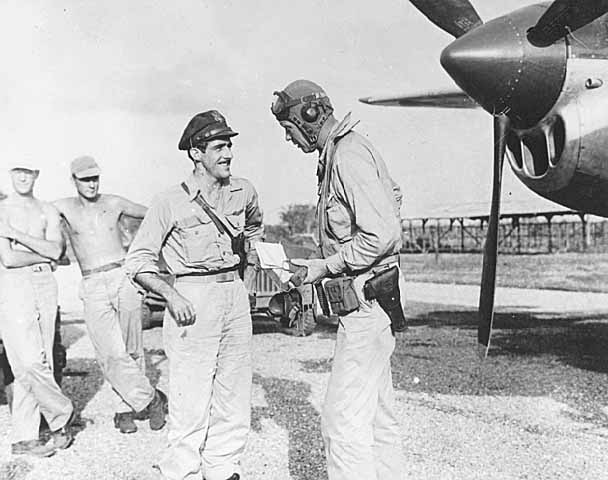 Charles Lindbergh with Tommy McGuire, South Pacific, Summer 1944