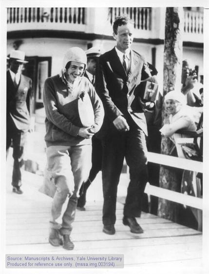 Charles A. and Anne Morrow Lindbergh return from Atlantic Survey Flight, Miami, Florida