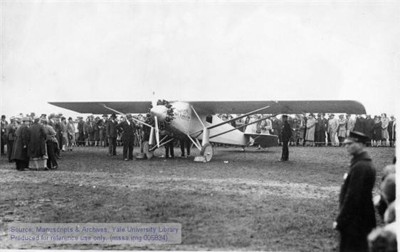 "Charles A. Lindbergh in the ""Spirit of St. Louis"" just before takeoff from Roosevelt Field, NY. May 20, 1927"