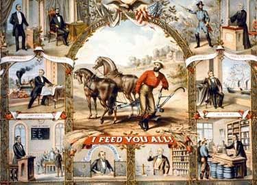 Painted ads show the difficulties farmers faced in the 1860s as farming changed.