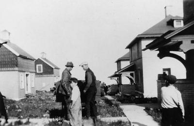 Assistant Keepers on Tramway Tracks Split Rock Lighthouse (1925)