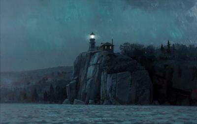 Painting of Split Rock Lighthouse Artist Mike Lynch