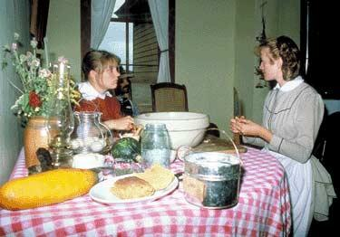 Old methods of pickling and preserving are demonstrated in the house.